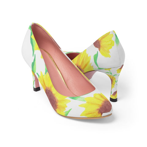 Sunflower print floral pump shoes for women - Shawlin