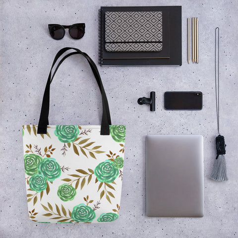 Green roses reusable canvas Tote bag