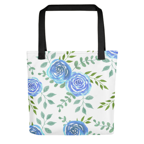Blue roses Tote bag with watercolor floral design - Shawlin