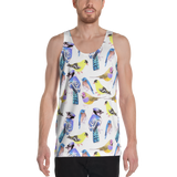 Watercolor Birds Unisex Tank Top in tetrad color scheme - Shawlin