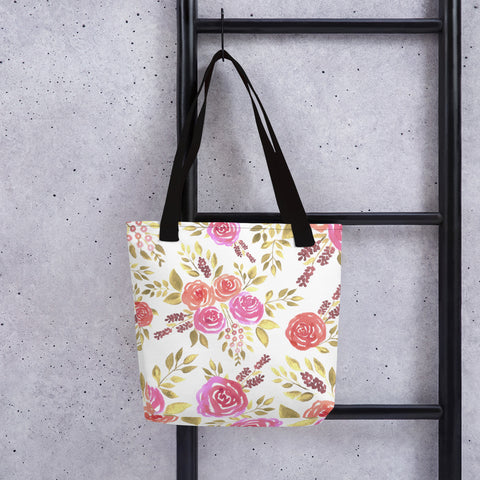 Sacred rose floral Canvas Tote bag reusable and durable with bull denim handles grocery bags beach totes