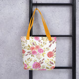 Sacred rose floral Canvas Tote bag reusable and durable with bull denim handles - Shawlin