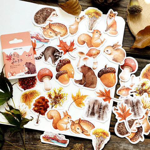 Autumn forest theme animal Stickers with woods