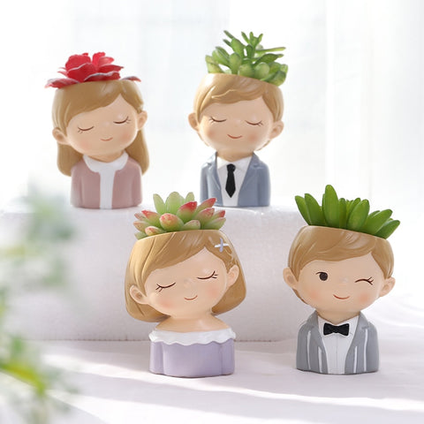 Cute Couples Planters Set - Wedding Gift with 4 pieces Cactus flower pot. - Shawlin