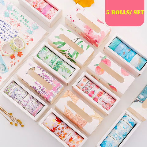 Washi Tape 5 piece per Set Decoration Sticker For Scrapbooking or Planner