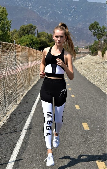 MEGA-Women Black and white Leggings Limited Signature Leggings