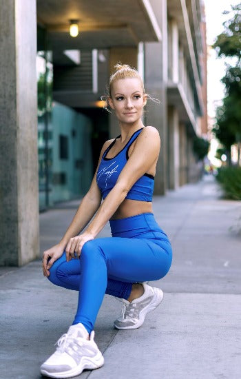 Mega Fashion Club Ultra Tight Blue Legging and Sports Top Active Set