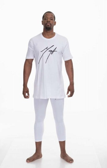 Mega Men's White Tee and White Compression Pants Tights