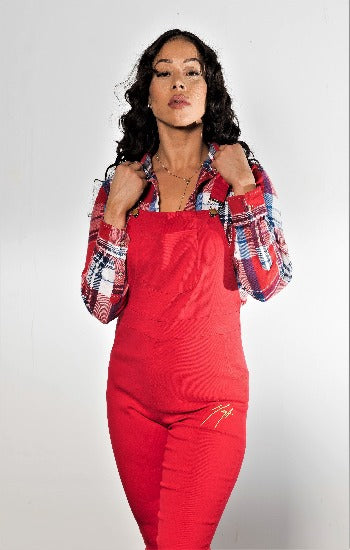 Stretch Red Denim Overall