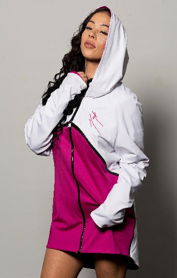 Fuchsia and White Full Jacket Mega Wrap