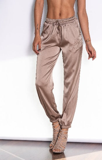 Soft Champagne Silk Joggers