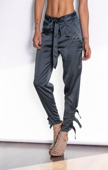 Mega Fashion Club Satin Garnet Stretch Jogger Pant