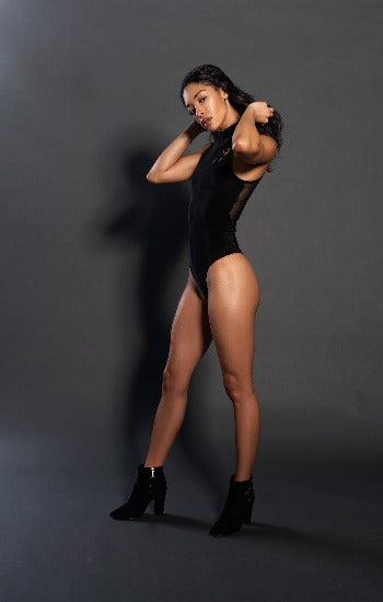 One Piece Black silk Body suit Front zipper With Gold Mega Signature