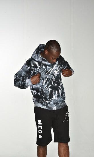Mega Signature Black and white Tie Die Pull over hoodie