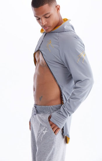The Mega wrap Grey and Gold active wear  hoodie