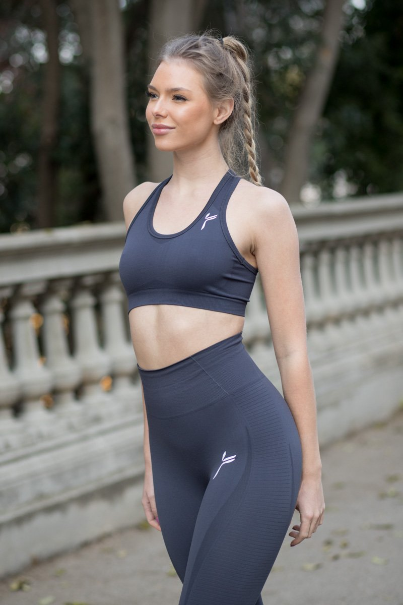 Dark Grey Drop It Sports Bra
