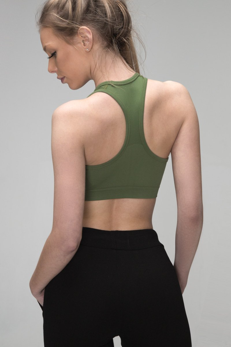 Army Green Drop It Sports bra