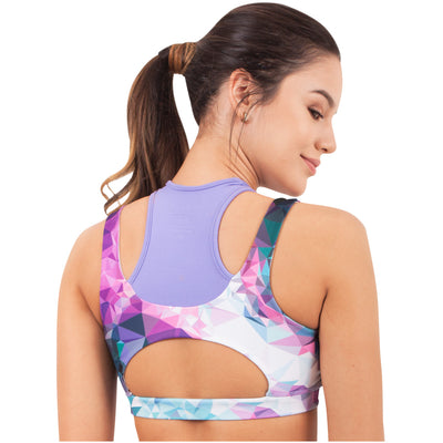 Violet Fractals Sports Racerback Sublimated Bra