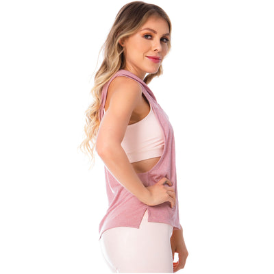 Pink Sleeveless Hooded Tank Top for Women