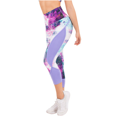 Violet Fractals High Waist Capri Sublimated Leggings