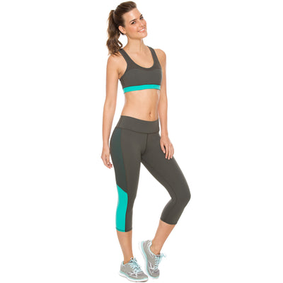 Activewear Womens Mid Rise Workout Slimming Capri Leggings with Tummy Control