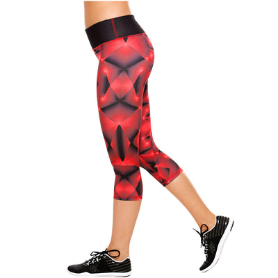 Red Fractals Women's Actiwear Mid Rise Workout Sports Capri Leggings