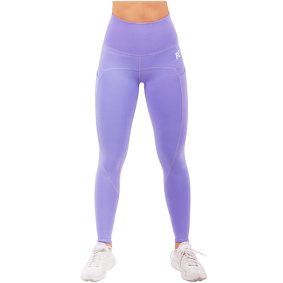 Violet Fractals High Waisted Leggings With Side Pocket