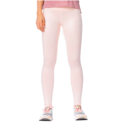 High-Rise Shimmer Pink Sports Leggings for Women