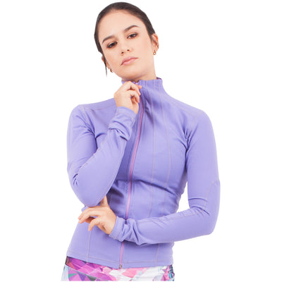 Violet Fractals Athleisure Jacket With Thumbhole