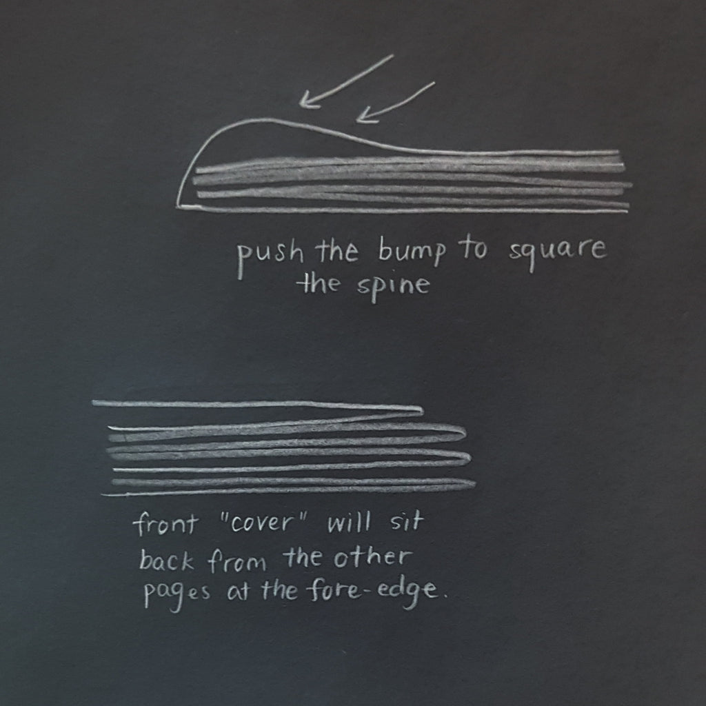 push the bump into the spine and re-flatten the fore-edge