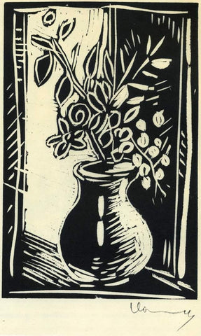 Basic Linocut Technique Vase of Flowers