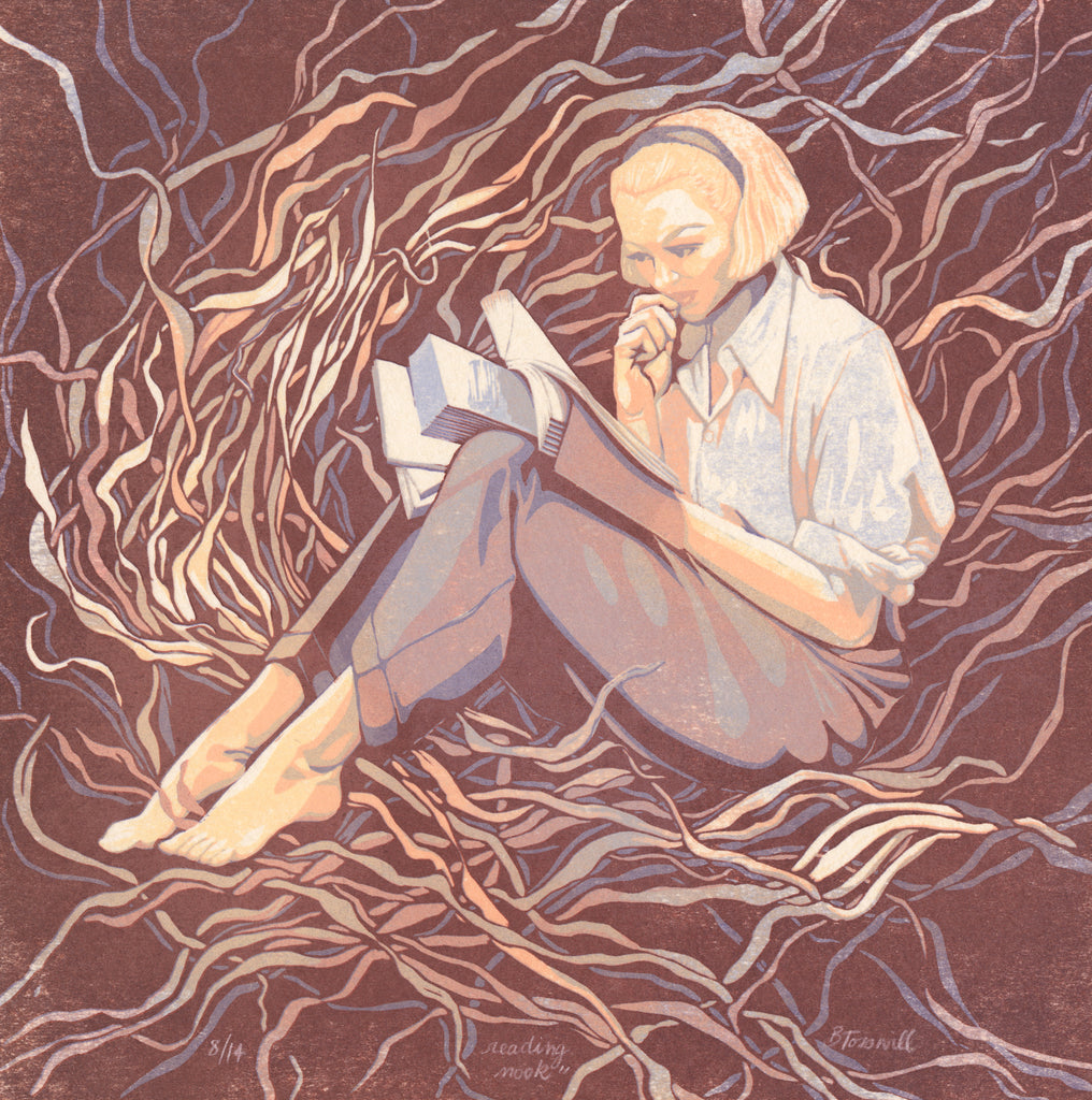 Blonde 1960's styled woman sitting in a reading nook of tangled, abstract vines. The background is burgundy, and the vines are in shades of peach and purple. It's a linocut print, so all of the edges are clean, not blended.