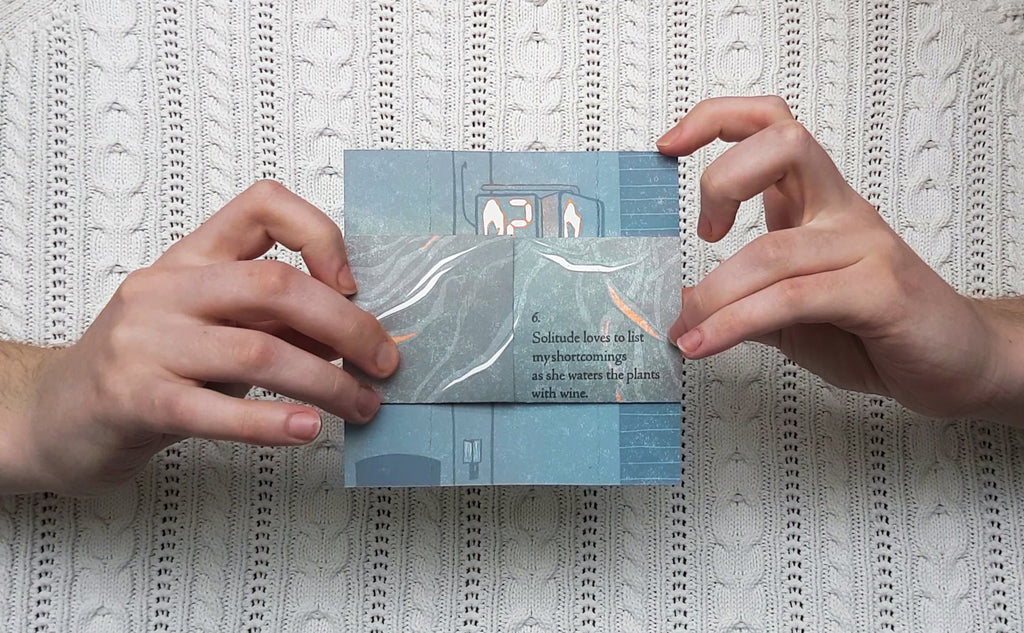 The Solitudes by Ola Bjelica, a blue/gray square of paper that unfolds endlessly in a cycle of poetry