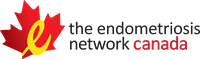 """The Endometriosis Network Canada Logo: Red maple leafe overlapped with a yellow cursive """"E"""""""