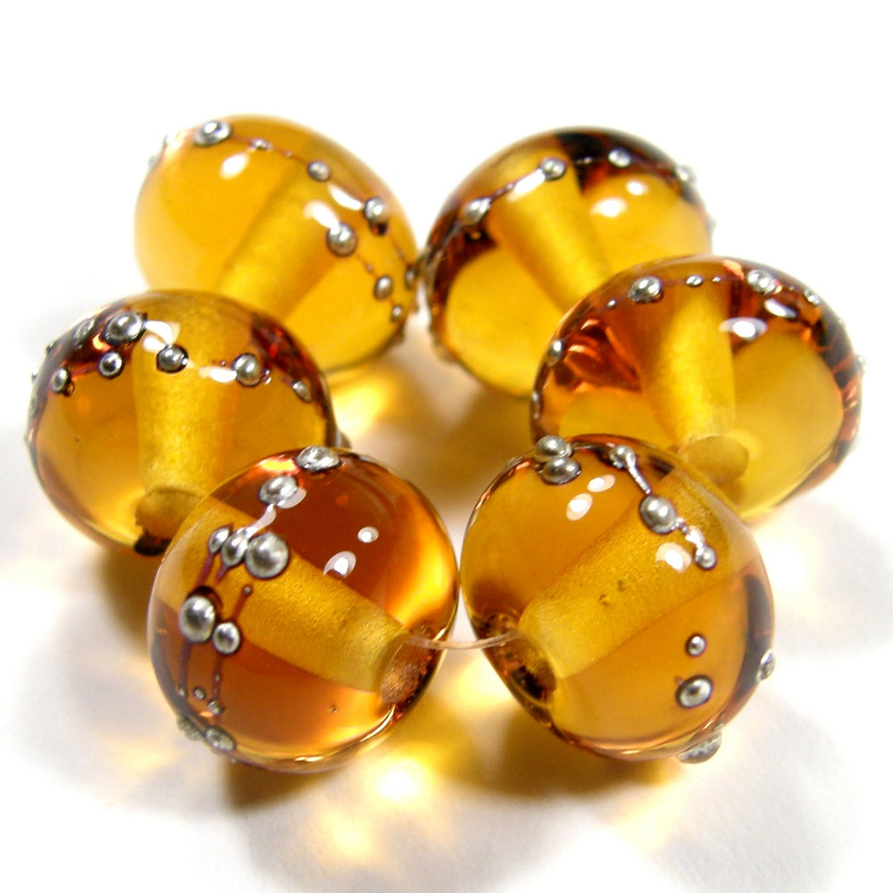 Shiny Light Amber Handmade Lampwork Glass Beads Wrapped in Fine Silver