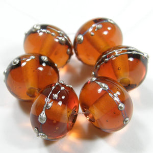 Medium Amber Topaz Handmade Lmpwork Glass Beads Wrapped With Fine Silver