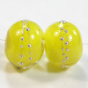 Encased Bright Acid Yellow Handmade Lampwork Beads Wrapped in Fine Silver