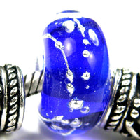 Handmade Large Hole Lampwork Beads, Glass Bracelet Charm, Encased Intense Blue Silver