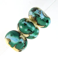 Handmade Lampwork Glass Beads, Blue Green White Black Shiny