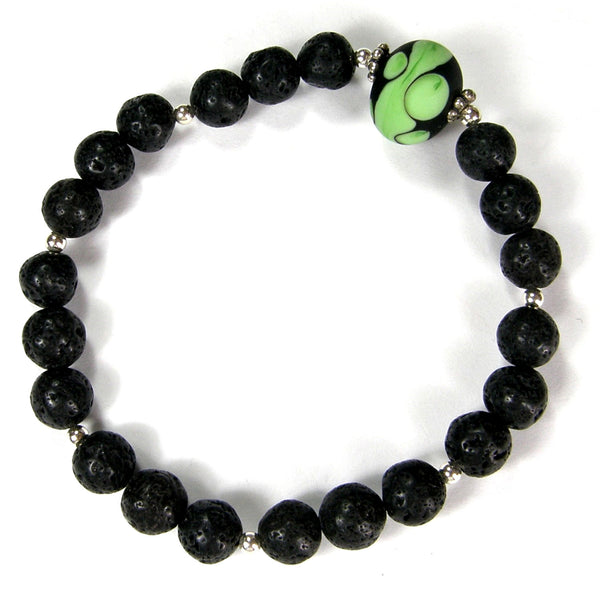 Black Lava Rock Gemstone and Lampwork Stretch Bracelet