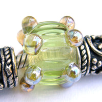 Handmade Large Hole Lampwork Beads, Artisan Glass Charm Chartreuse Yellow Green Ripples