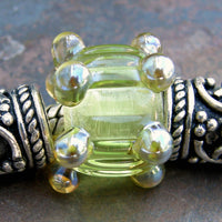 Large Hole Lampwork Beads, Handmade Glass Chartreuse Yellow Green Dots Ripples