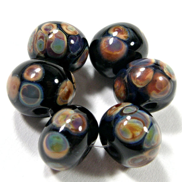 Handmade Lampwork Glass Frit Beads, Black Raku Shiny Glossy