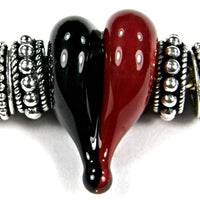 Handmade Large Hole Lampwork Beads, Glass Heart, Red Black