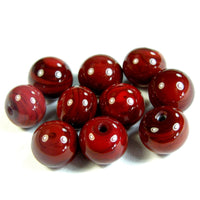 Half Hole Handmade Lampwork Glass Beads, Medium Red Shiny