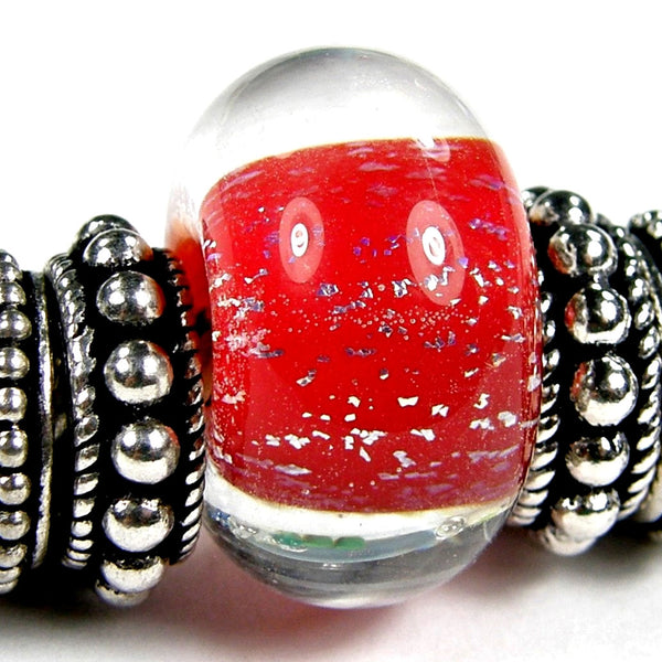 Handmade Large Hole Lampwork Beads, Artisan Glass Charms, Encased Red Dichroic