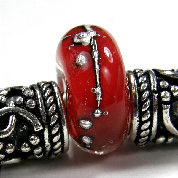 Handmade Large Hole Lampwork Beads, Glass Charm Encased Red Silver Shiny
