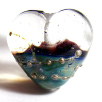 Handmade Lampwork Glass Heart Beads, Rustic Blue and Clear Wrapped in Silver