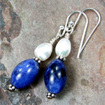 Blue Sodalite Gemstone Freshwater Pearl Dangle Earrings Sterling Silver