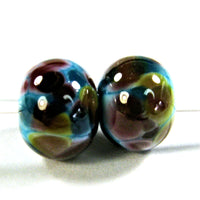 Handmade Lampwork Glass Frit Beads, Turquoise Blue Browns Pink